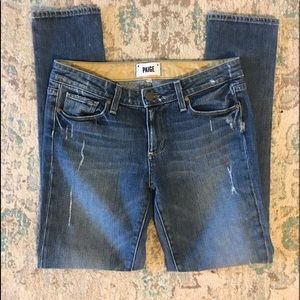 PAIGE Skyline Ankle Peg Distressed Jeans